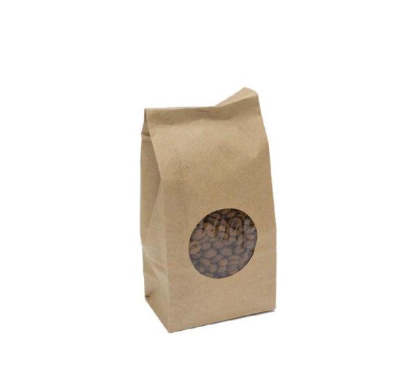Papirnata vrečka z oknom 80х50х170 mm kraft 70 (600 kos/pak)