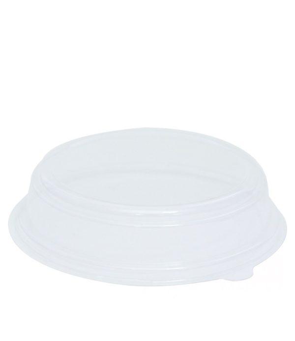 Papirnata posoda s pokrovom, 750 ml, d = 150 mm, h = 60 mm, bela, za solato , 500 kos (komplet)