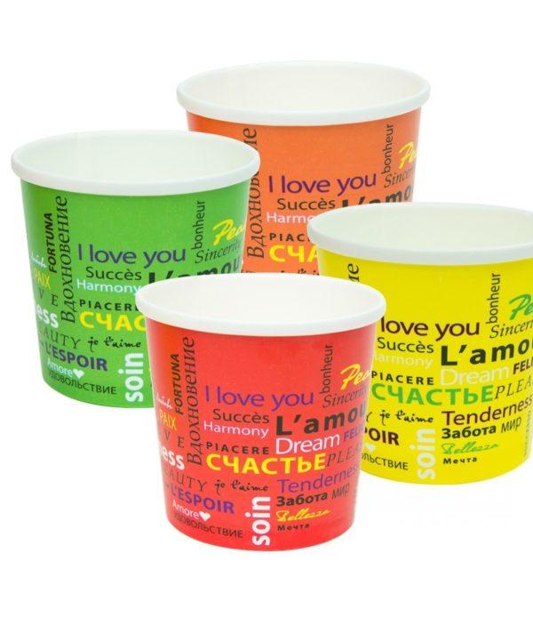 Papirnata posodica za juho s pokrovom FIESTA 300 ml, 500 kos (komplet)