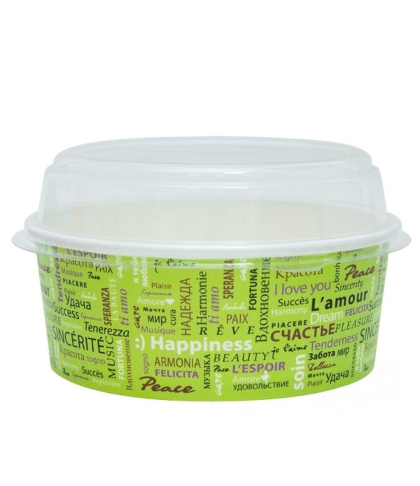 Papirnata posodica s pokrovom Fiesta za solate 750 ml, d=150mm, 500 kos (komplet)