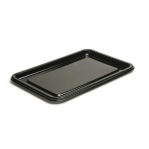 Pravokoten pladenj PET 35 x 24 cm črn s pokrovom, 50 kos (komplet)
