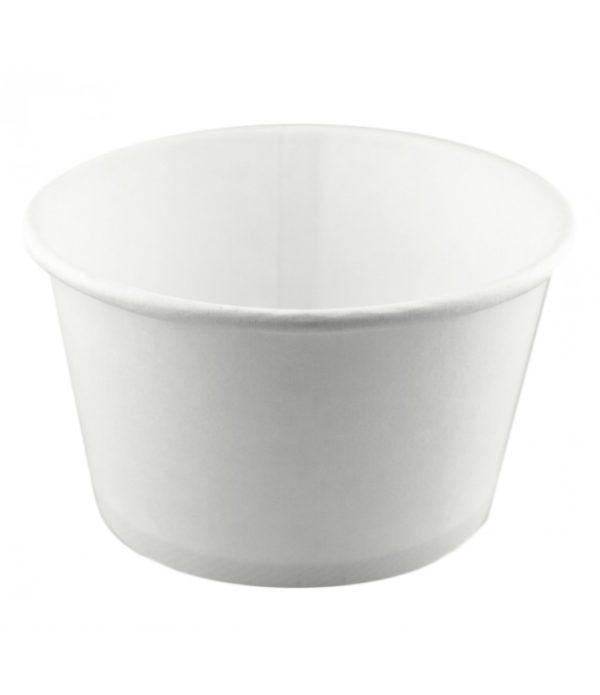 Papirnata posodica za tople jedi s pokrovom 500 ml, d=121mm h=72mm, bela, 50 kos (komplet)