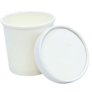 Papirnata posoda za juho Tambien ECO 340 ml d=90 mm h=85 mm bela s pokrovom, 50 kos (komplet)