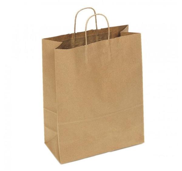 Papirnata nosilna vrečka s pletenim ročajem 320x180x430 mm kraft
