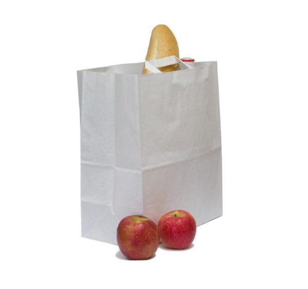 Papirnata nosilna vrečka z ravnim ročajem 280x150x320 mm bela (250 kos/pak)
