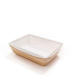 Pokrov raven 180x140x17 mm za papirnato posodo Crystal box 800 ml (360 kos/pak)