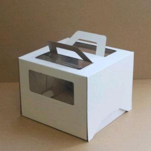 Škatla za torto z oknom, z ročaji 260x260x200 mm mikro valovit karton bela (25 kos/pak)