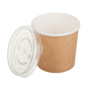 Papirnata posoda za juho Tambien ECO 300 ml d=90 mm h=85 mm kraft s pokrovom, 50 kos (komplet)