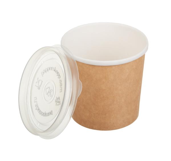 Papirnata posoda za juho Tambien ECO 340 ml d=90 mm h=85 mm kraft s pokrovom, 50 kos (komplet)