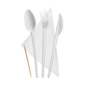 """Komplet """"5 beli:: vilica, nož, žlička, zobotrebec, servieta (300 kos/pak)"""