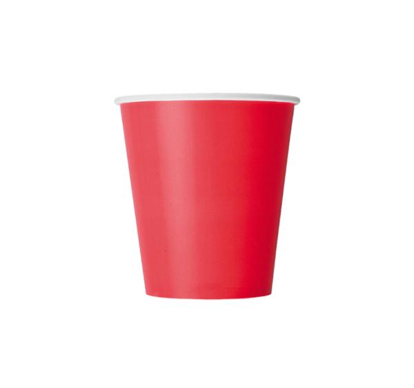 Papirnat kozarec 250 ml d=80 mm 1-slojni rdeča (50 kos/pak)