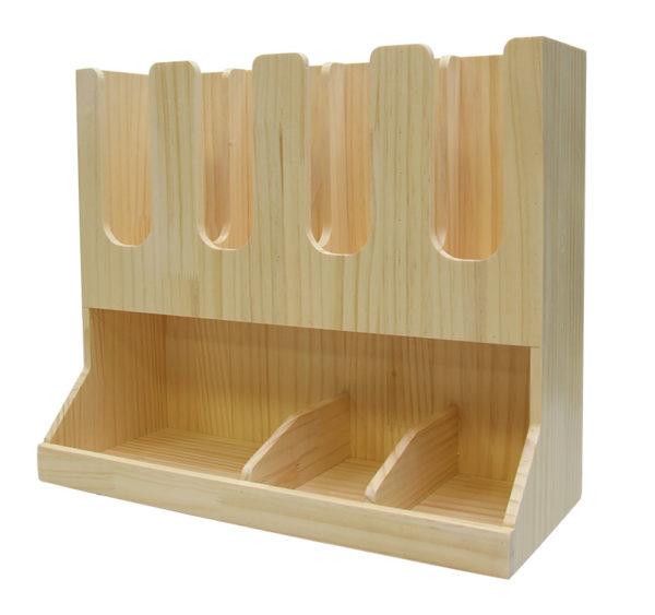 Stojalo za kozarci z 3 razdelki in 6 za pripomočke leseno (AA28-Wo)