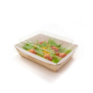Papirnata posoda s pokrovom kupola Crystal Box 500 ml 160x120x45 mm kraft (50 kos/pak)