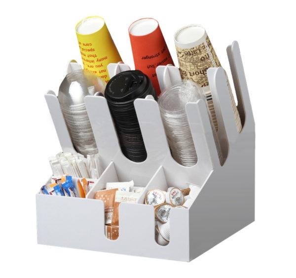 Stojalo za kozarci z 3 razdelki in 6 za pripomočke plasticno bele (7002A-W)