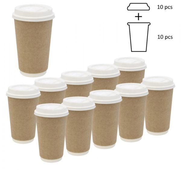 Komplet: kozarec 400 ml d=90 mm 2=slojni kraft s pokrovom, 10 kos
