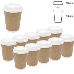 Komplet: kozarec 300 ml d=90 mm 2=slojni kraft s pokrovom, 10 kos