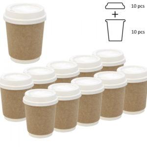 Komplet: kozarec 250 ml d=80 mm 2=slojni kraft s pokrovom, 10 kos