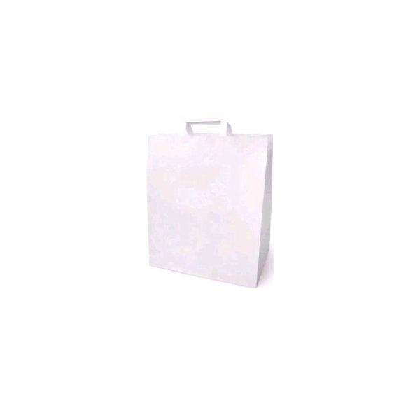 Papirnata nosilna vrečka z ravnim ročajem 320x200x370 mm, bela (200 kos/pak)