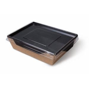 Papirnata posoda s prozornim pokrovom ECO OpSalad 800 ml 186х106х55 mm Black Edition (200 kos/pak)