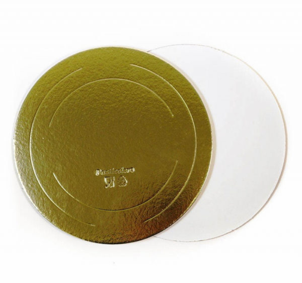 Podstavek okrogli za torto kartonasti d = 260 mm zlato / biser ojačan 3,2 mm (10 kos/pak)