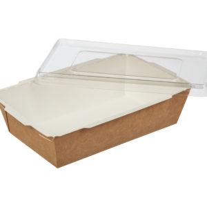 Papirnata posoda s pokrovom Crystal Box 800 ml 207x127x55 mm kraft (200 kos/pak)
