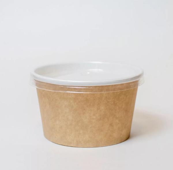 Papirnata posoda za juho 470 ml d=110 mm h = 65 mm kraft s pokrovom (500 kos/pak)