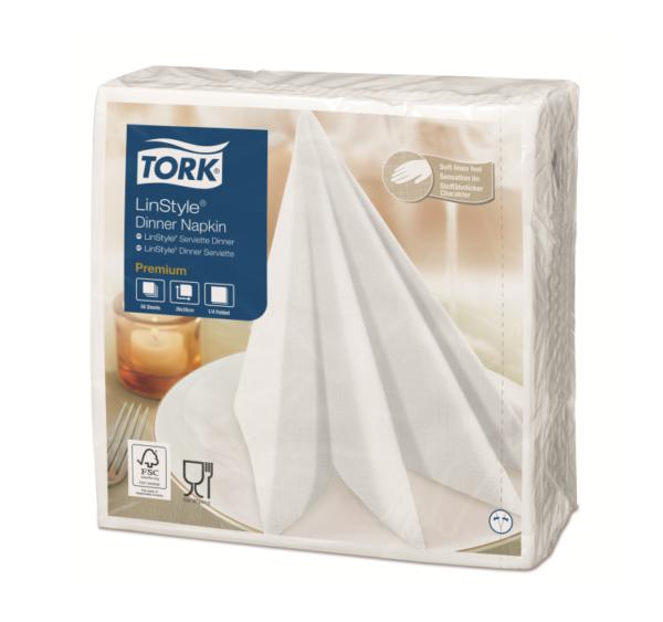 Prtički za večerjo Tork Premium Linstyle® 39×39 cm, 50 kos/pak, beli (12 kos/pak)