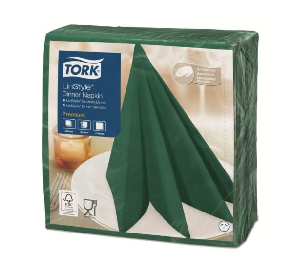 Prtički za večerjo Tork Premium Linstyle® 39×39 cm, 50 kos/pak, zelenega macesna