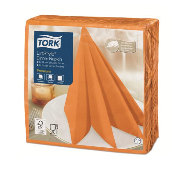 Prtički za večerjo Tork Premium Linstyle® 39×39 cm, 50 l/pak, oranžna