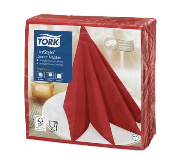 Prtički za večerjo Tork Premium Linstyle® 39×39 cm, 50 kos/pak, rdeče