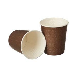 Papirnat kozarec 250 ml d=80 mm 1-slojni rjav Coffee Touch reliefno žigosanje (50 kos/pak)