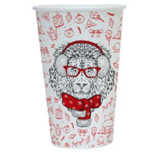 Papirnat kozarec 400 ml d=90 mm 1-slojni Happy New Year Lion (50 kos/pak)