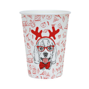 Papirnat kozarec 300 ml d=90 mm 1-slojni Happy New Year Dog (40 kos/pak)