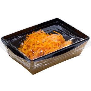 Papirnata posoda s pokrovom Crystal Box 400 ml 145x95x45 mm, črna / kraft z ravnim dnom (450 kos/pak)